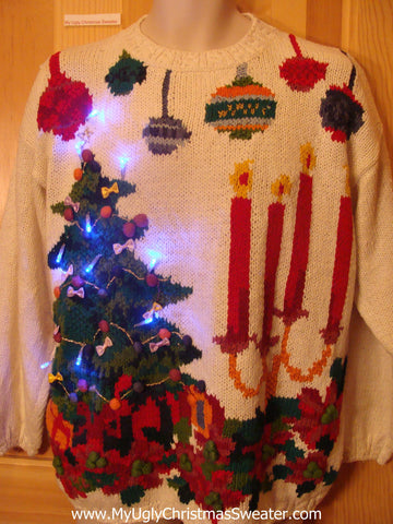 Tacky Light Up Christmas Sweater 80s Tree, Candles, Ornaments