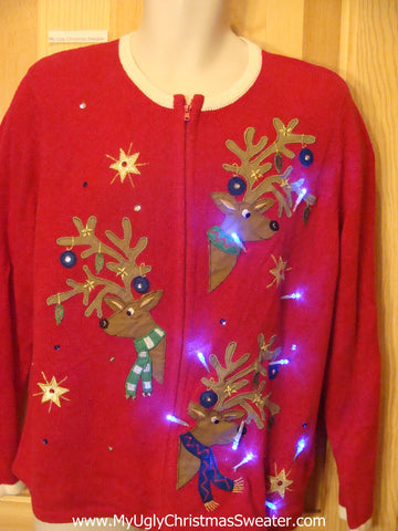 Tacky Light Up Christmas Sweater with Three Festive Reindeer