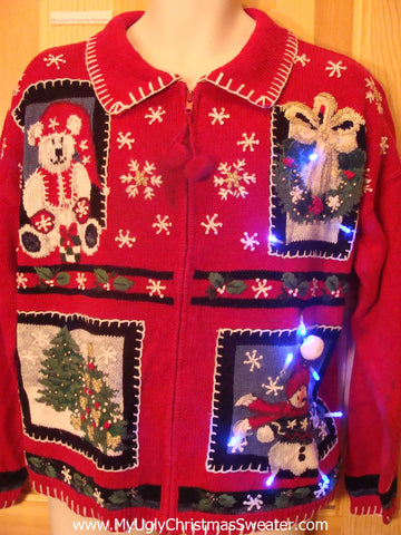 Tacky Light Up Christmas Sweater Patchwork Bear, Tree, Wreath, Snowman