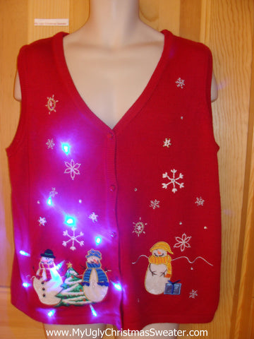 Tacky Light Up Christmas Sweater Vest with Festive Colorful Snowmen