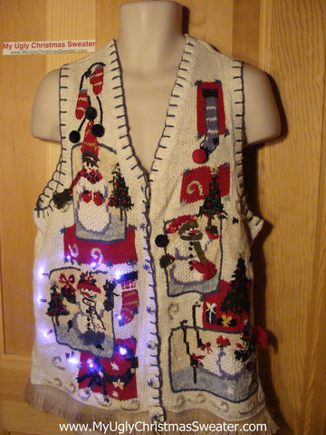Tacky Ugly Christmas Sweater Vest with Lights and Fringe (g74)