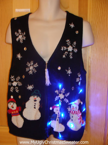 Tacky Light Up Christmas Sweater Vest Tassle Zip and Snowmen
