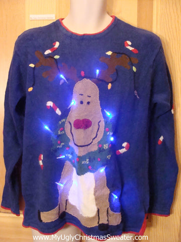 Holy Grail of Tacky Light Up Christmas Sweater Red Nosed Reindeer