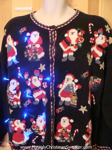 Tacky Light Up Christmas Sweater with Crazy Santas and CandyCanes