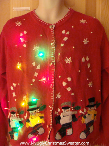 Tacky Light Up Christmas Sweater Red Cardigan with Colorful Lights