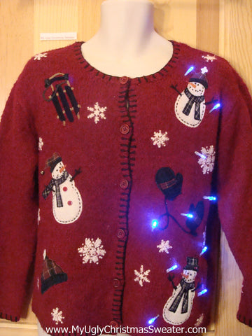 Tacky Light Up Christmas Sweater Cardigan with Snowmen Sled Mittens