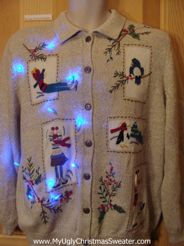Tacky Light Up Christmas Sweater Skating Children, Bird, Penguin