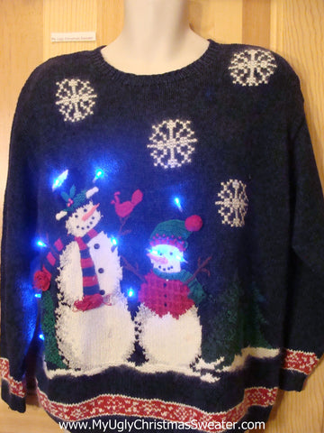 Tacky Light Up Christmas Sweater Snowmen Front and Back Pullover