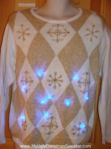 Tacky Light Up Christmas Sweater 80s Golden Diamonds and Snowflakes