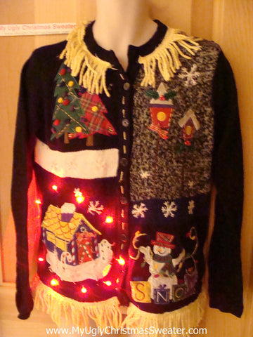 Tacky Ugly Christmas Sweater with Grid of Designs Lights and Fringe (g75)