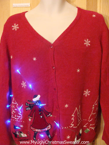 Tacky Red Light Up Christmas Sweater Scotty Dog Puppy on Sled