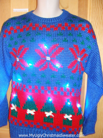 Tacky Light Up Christmas Sweater 80s Nordic Snowflakes Trees