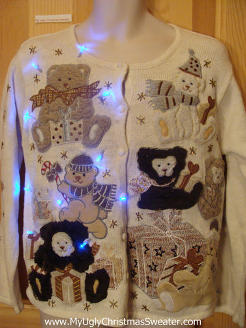 Tacky Light Up Christmas Sweater Brown Bears Front and Back