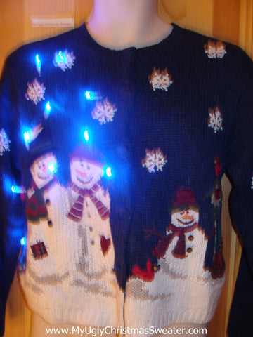 Tacky Blue Light Up Christmas Sweater Snowmen Snowflakes Red Cardinal