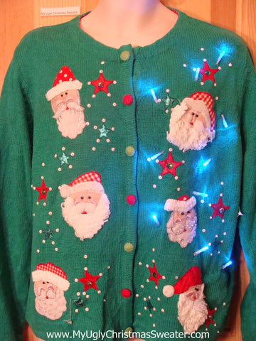 Tacky Green Light Up Christmas Sweater Santa Heads and Snowflakes