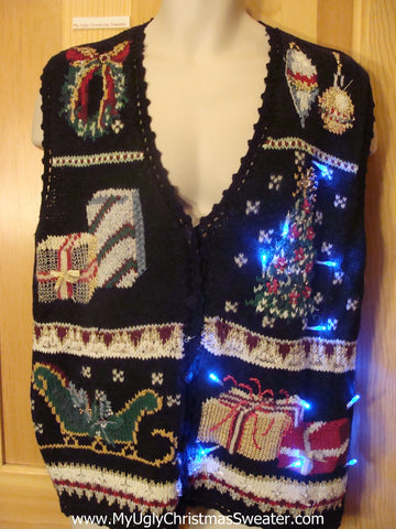 Tacky Light Up Christmas Sweater Vest Sleigh, Tree, Wreath, Gifts
