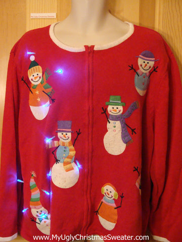 Tacky Red Light Up Christmas Sweater Colorful Snowmen Wm Mens XXXL