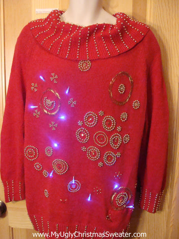 Tacky Red 80s Light Up Christmas Sweater Bead Bling Snowflakes
