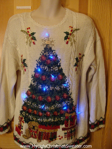 Tacky 80s Light Up Christmas Sweater Tree Ivy Candycanes Bear