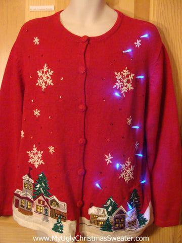Tacky Red Light Up Christmas Sweater Winter Wonderland Town