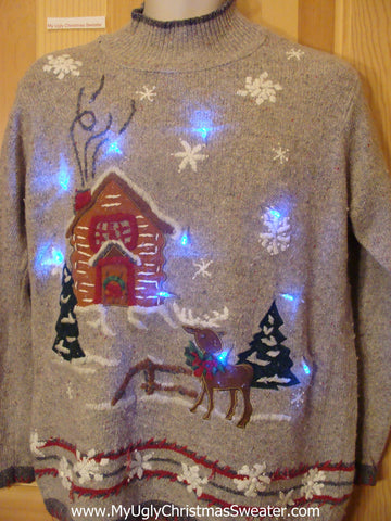 Tacky Light Up Christmas Sweater Pullover Winter Cabin Reindeer