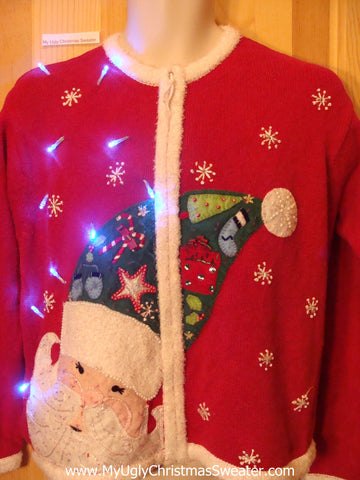 Tacky Red Light Up Christmas Sweater with Scary Horrible Santa