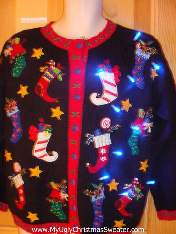 Tacky Light Up Christmas Sweater with Crazy Festive Stockings