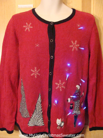Tacky Red Light Up Christmas Sweater Westie Puppy Dog Fancy Lady