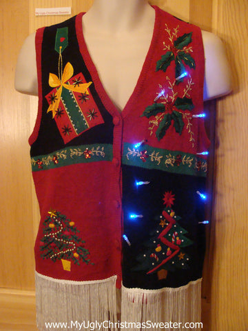 Tacky Light Up Christmas Sweater Vest Dangling Fringe Bling Tree