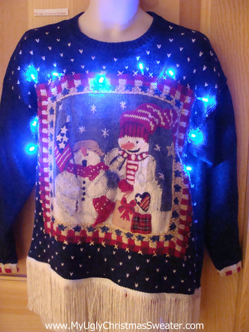 Tacky Patriotic Snowmen Light Up Christmas Sweater Fringe