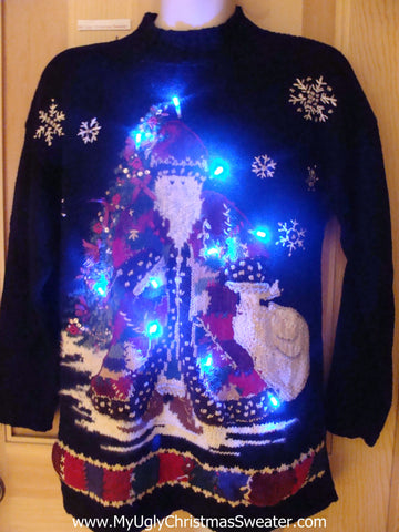Tacky Light Up Christmas Sweater Horrible Festive Huge Santa