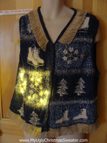 Tacky Ugly Christmas Sweater Vest Winter Wonderland Trees and Ice Skates with Lights and Fringe (g78)