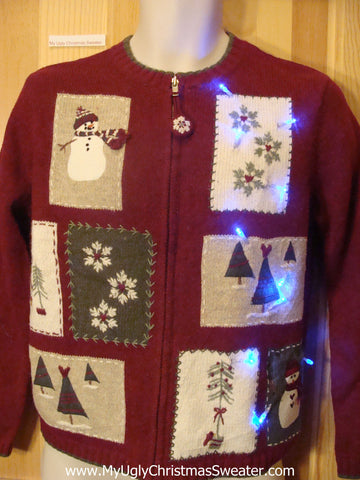 Tacky Light Up Christmas Sweater Crafty Embroidered Patchwork
