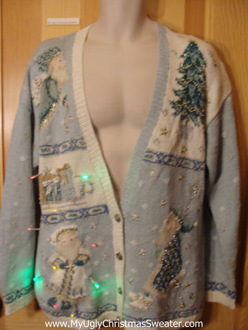 Tacky Baby Blue Light Up Christmas Sweater Cardigan with Santa