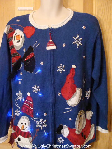 Tacky Blue Light Up Christmas Sweater Falling Snowmen with Hats