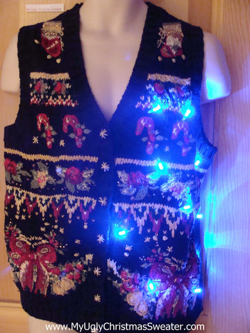 Tacky Light Up Christmas Sweater Vest with Cheesy Horrible Designs