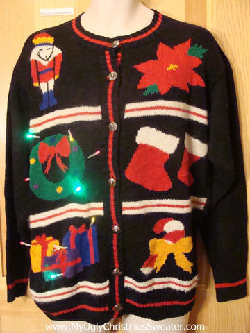 Tacky Light Up Christmas Sweater Poinsettia Nutcracker, Colorful Lights