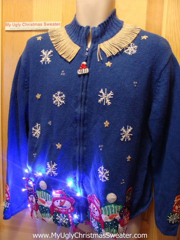 Tacky Ugly Christmas Sweater Carrot Nosed Snowmen with Lights and Fringe (g79)