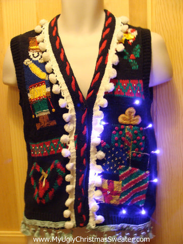 Tacky Ugly Christmas Sweater vest with Lights and Fringe (g7)