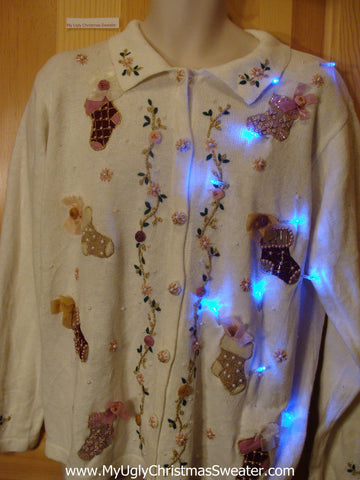 Light Up Ivory Ugly Xmas Sweater Cardigan with Cheesy Stockings