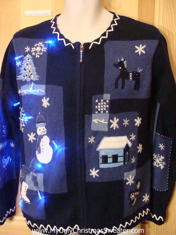 Light Up Blue 2sided Ugly Xmas Sweater with Snowmen