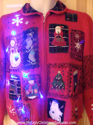 Light Up Red Ugly Xmas Sweater with Plaid Collar and Blocks