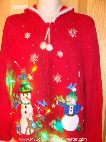 Light Up Red Ugly Xmas Sweater Hoddie with Cheesy Snowmen