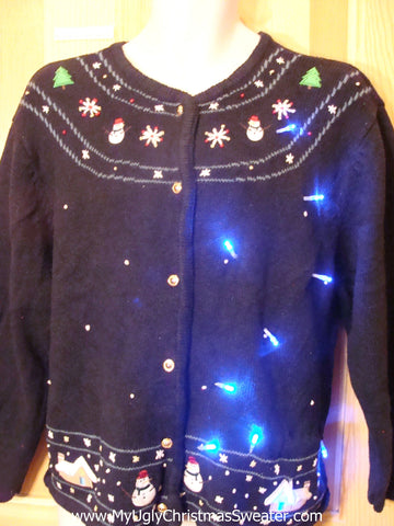 Light Up Ugly Xmas Sweater Nordic Style Cardigan with Snowmen