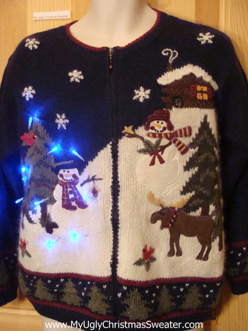 Light Up Ugly Xmas Sweater with Moose, Snowmen, Snowflakes