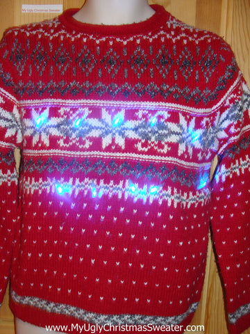 Light Up Ugly Xmas Sweater Red Nordic Pullover Snowflakes