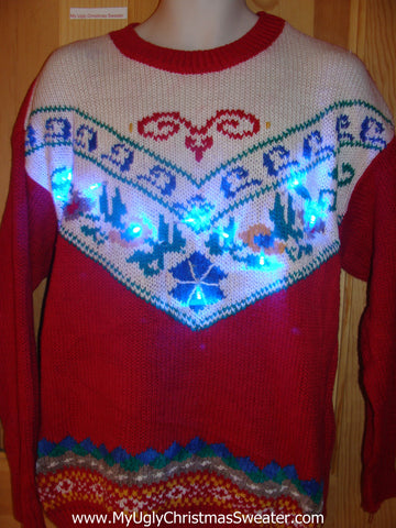 Light Up Ugly Xmas Sweater 80s Horrible Cheesy Designs