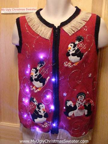 Tacky Ugly Christmas Sweater Vest Athletic Skiing Penguins with Lights and Fringe (g80)