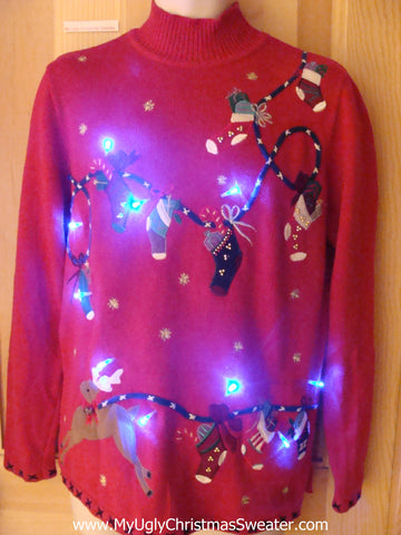 Light Up Ugly Xmas Sweater Reindeer Pulling Stocking Clothesline