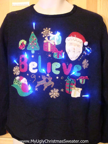 Light Up Ugly Xmas Sweater Pullover with BELIEVE